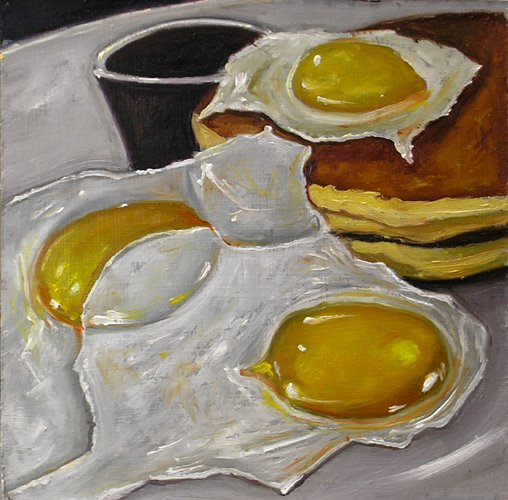 eggs-and-pancakes-for-breakfast still life