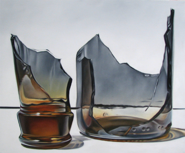 broken brown glass bottle photorealism still life