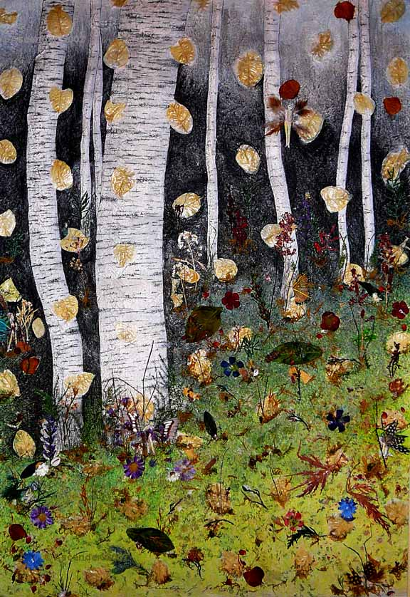 collage mixed media forest