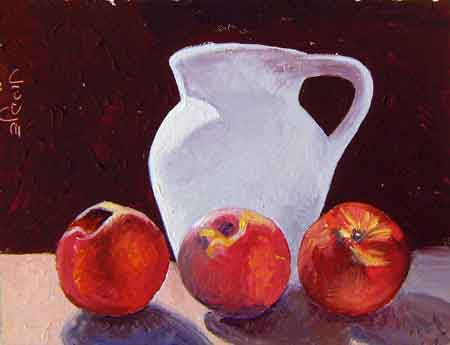 still-life-with-nectarines and pitcher