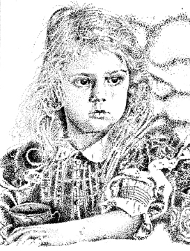 pointillism black and white portrait