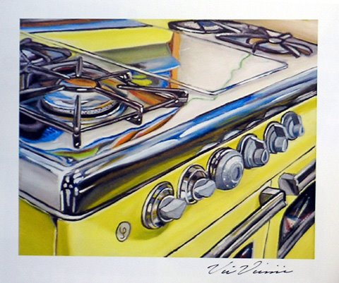 yellow stove painting shiny