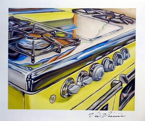 yellow stove painting shiny