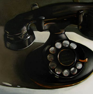 rotary phone still life black