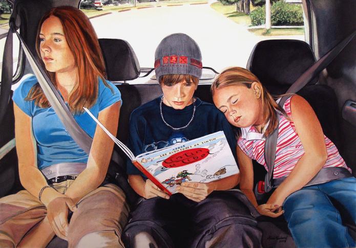 children car waiting seat belts