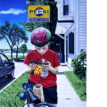 boy bicycle baseball cards