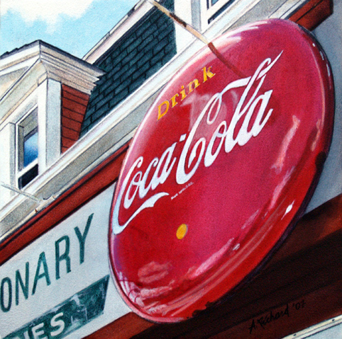 coca cola sign corner shop