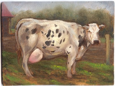 Cow heifer rural farm painting