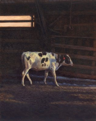 Cow industrial farm painting