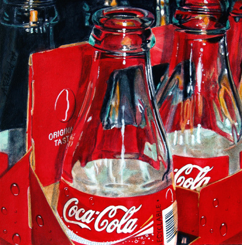 empty coca cola bottles still life