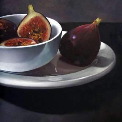 still life fruit fig plate