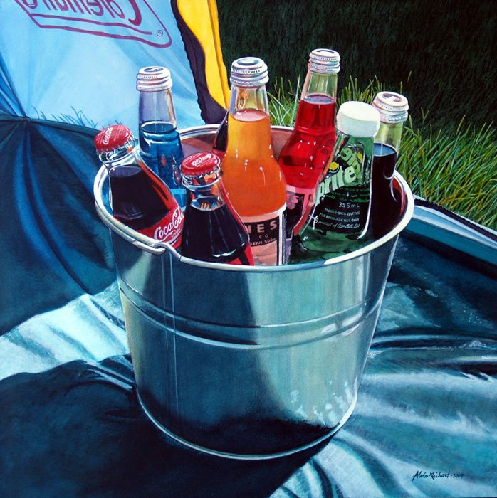 soda bottles bucket tent still life
