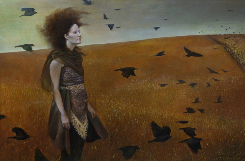 field black crows outdoors landscape magical realism