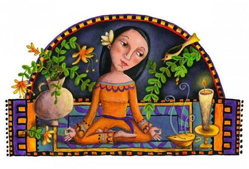 meditation-in-orange illustration editorial girl candles
