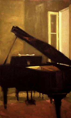 black grand piano still life warm golden light