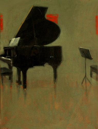 black grand piano still life red square